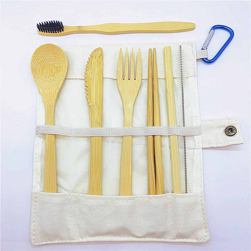 Bamboo Travel Utensils To-Go Reusable Bamboo Cutlery Set with Carrying Case Wood Flatware Travel Set Bamboo Charcoal Toothbrush