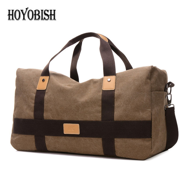 Hoyobish Casual Canvas Portable Travel Bags For Men Korean Style Duffle Handbags Large Capacity Weekend