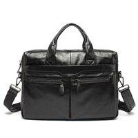 100 Genuine Leather JMD Vintage Men Black Handbag Men Messenger Bag Laptop Men Travel Bags Briefcase