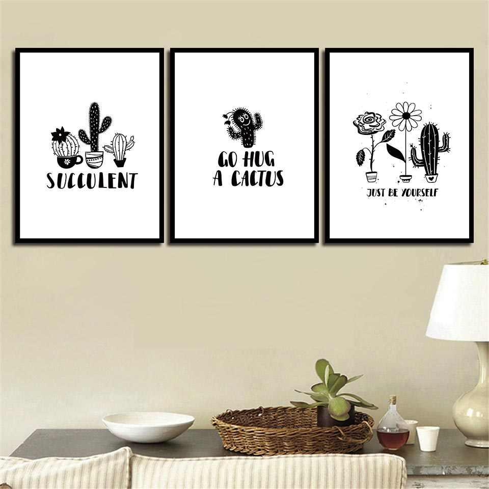 Скандинавский стиль Холст Картина растения в горшках Кактус Цветок и плакат с надписями Печать Искусство черно-белые картины детская комната Настенный декор