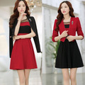 Belt+Brooch+Dress+Blazer 2016 New Women Dress Set 2 piece Costumes Long Sleeve Office Dress Work Wear Tunic Red,Black S~XXL