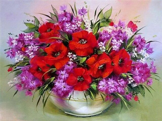 СДЕЛАЙ САМ алмаз живопись алмаз вышивка красные цветы декоративные вазы фотографии стразами хобби и ремесла украшение дома