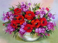 DIY Diamond Painting Diamond Embroidery Red Flowers Decorative Vase Pictures Of Rhinestones Hobbies And Crafts Home