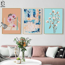 Mediterranean Style Wall Art Canvas Painting Flower Girl Abstract Posters and Prints Picture for Living Room Decor