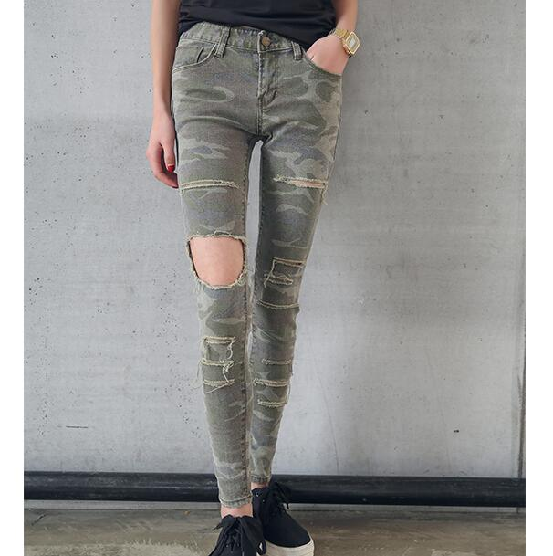 2017 new Army Cargo Pants women jeans with hole stretch camo camouflage jeans skinny denim jean femme D312