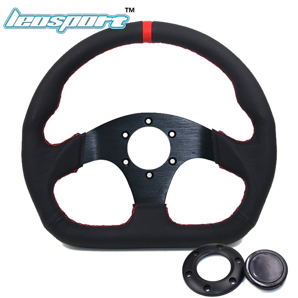 Leosport-13 (330mm) For Racing Steering Wheel really Leather red line Steering Wheel Flat Racing Steering Wheel цена