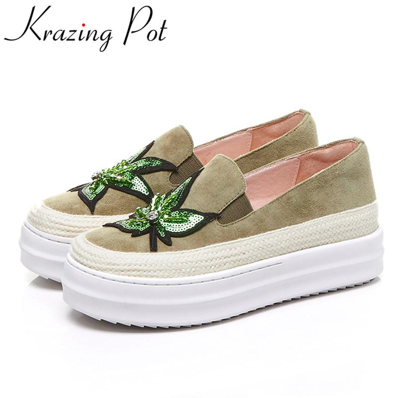 Krazing Pot sheep suede bling slip on superstar round toe platform causal shoe runway increased mixed colors vulcanized shoe L58 2017 superstar cow leather platform european ankle strap peep toe print mixed colors classic women increased runway sandals 0 4