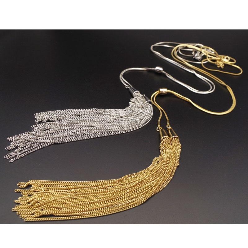 F.J4Z Moda Elegantna Zlatna Srebrna Duga Tassel Zmija Lanac Duks - Modni nakit - Foto 4