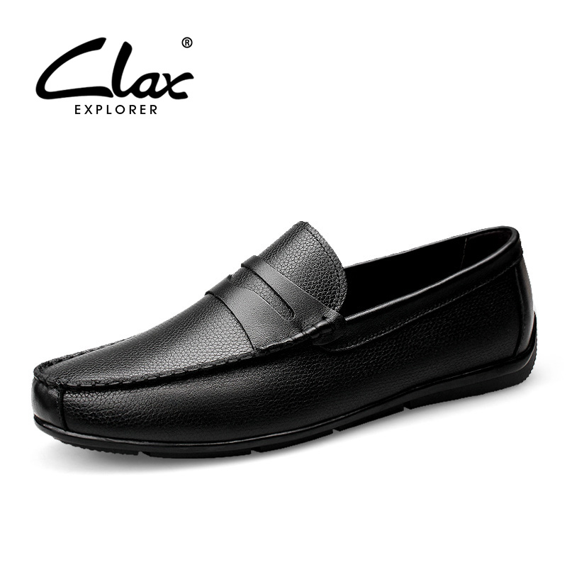 Clax Men Shoes Luxury Brand Loafers Genuine Leather Male Driving Shoes Slip On Black Dress Shoe Moccasin Designer Classical desai brand italian style full grain leather crocodile design men loafers comfortable slip on moccasin driving shoes size 38 43