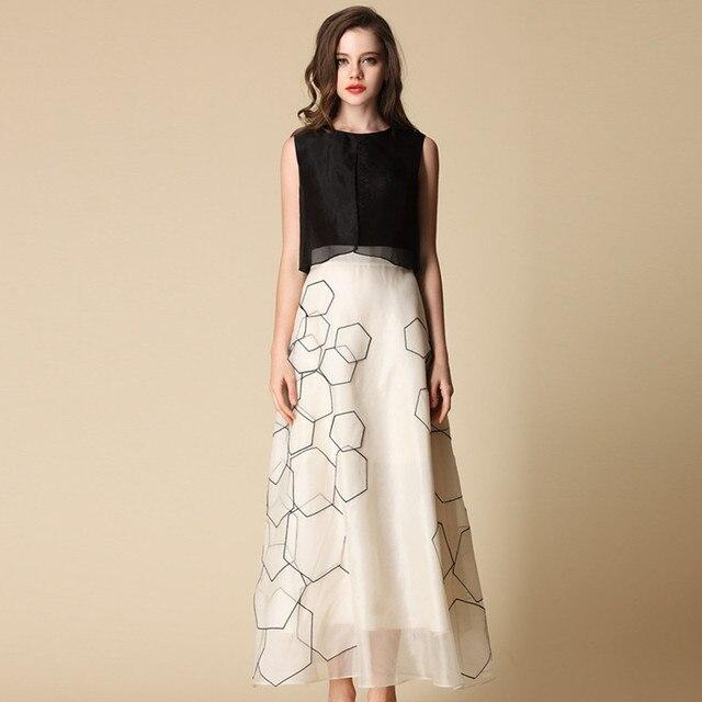 77966b476830 Luxury Ladies Spring Silk Dress Suit Sleeveless Classic Real Silk Long  Dresses Summer Womens Clothing Black White Mesh Costume