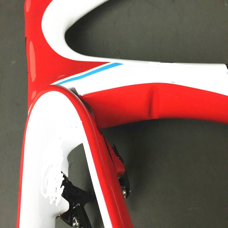 Via- S Road Full Carbon Bike Frame Red Glossy UD Bicycle Frameset + Breaks+handlebar+seapost Made In Taiwan Vene Frames
