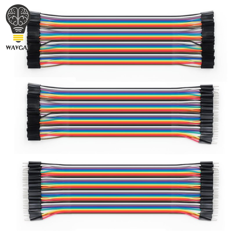 WAVGAT Dupont line 120pcs 20cm male to male + male to female and female to female jumper wire Dupont cable for Arduino lson female to female breadboard jumper dupont cable white black red blue yellow 28 pcs