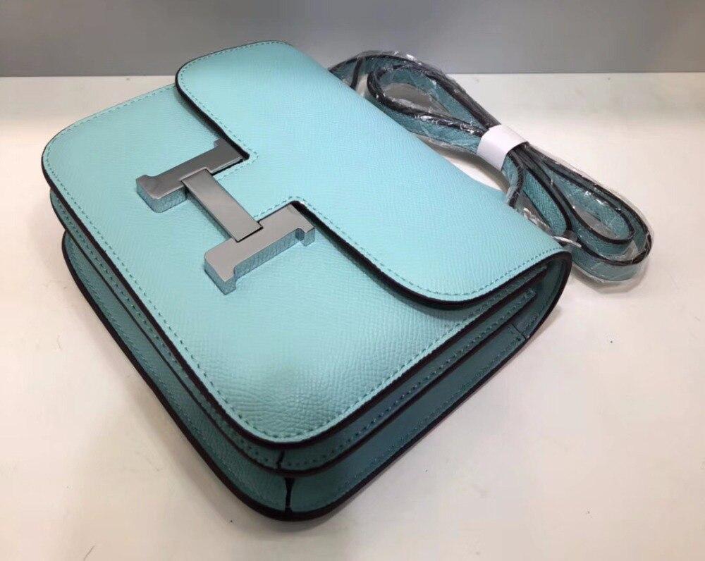[Hely Coptar] Genuine Leather Women Bags Mini <font><b>Handbag</b></font> <font><b>Silver</b></font> Metal Classic Flap Epsom Leather Vintage Fashion Designer Luxury