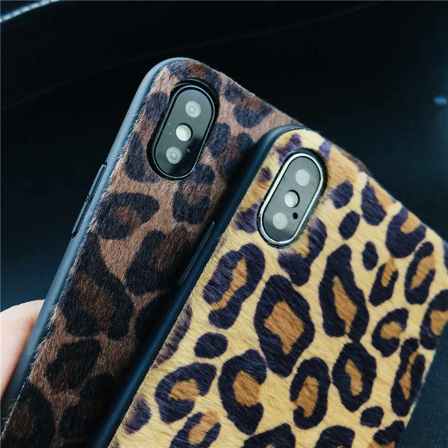 super popular 89957 2859a New Fashion Leopard print hairy Plush fur phone Case For iphone X case Soft  Warm TPU cover for iphone 6 6s 7 8 plus XR XS XS Max