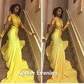 Long Sleeves Yellow Satin High Neck Vestido De Festa Prom Dress 2016
