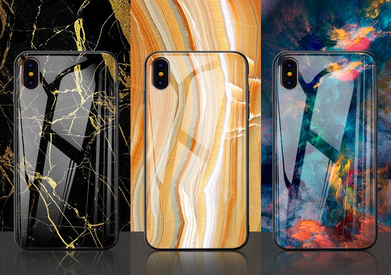 TOMKAS Luxury Marble Phone Case for iPhone X 10 Tempered Glass PC Agate Back Cover Silicone Soft Edge Coque Case for iPhone X (26)