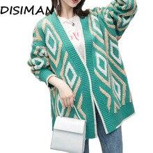 Лучший!  DISIMAN свитер женский кардиган Трикотаж корейской зимней одежды Свободные женские топы Толстые Плюс Л�