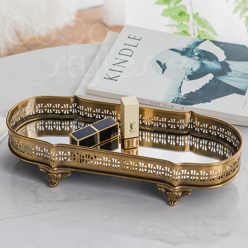 Cocostyles InsFashion plateau en laiton miroir fait main vintage et de luxe avec pieds pour le stockage et l'affichage de cosmétiques