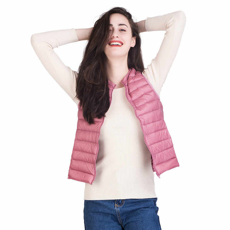 dfc674c8228ca ...  Aiweier  Plus Size Ultra Light Down Jacket Women Sleeveless Thin  Zipper Solid Vest Fashion ...