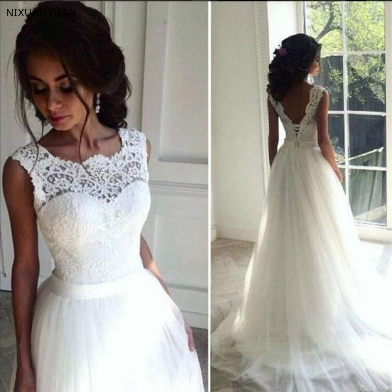 Bohemian Lace Cheap 2020 Beach Wedding Dresses Crew A-line Tulle Bridal Dresses Boho Chic Beach Country Wedding Gowns