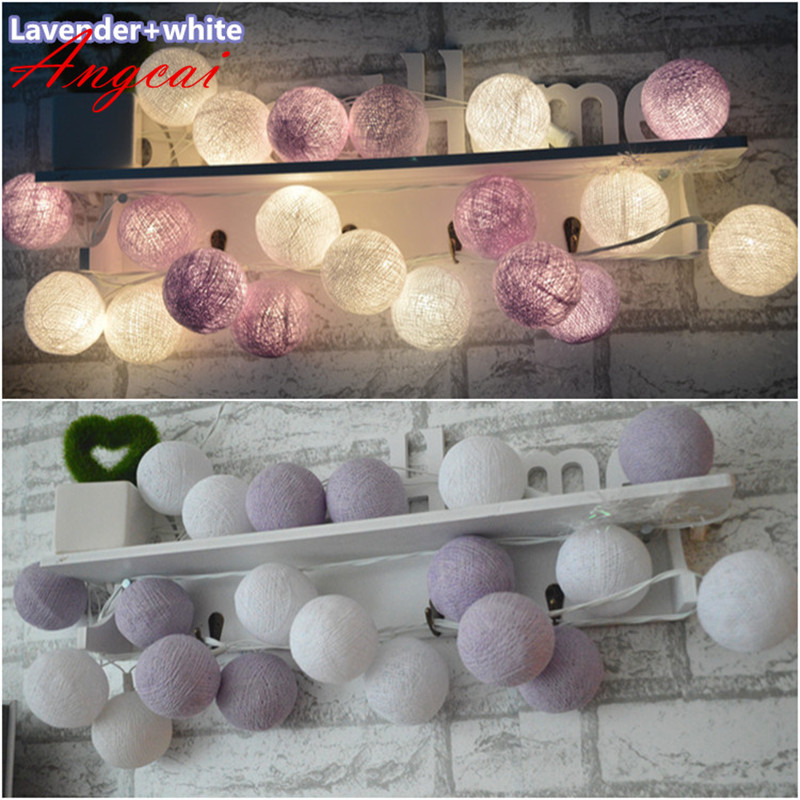Thailand Style New Lavender And White Mixed Handmade Cotton Ball String Lights Fairy Wedding XMAS Patio Deco
