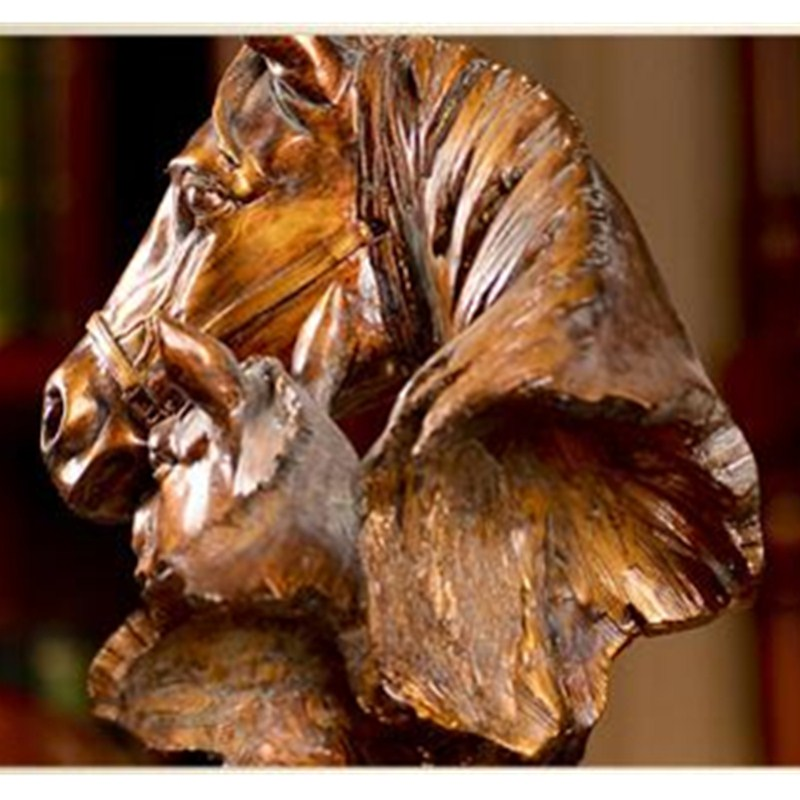 Retro Horse Bust Half-Length Photo Or Portrait Animals Statue Resin Craftwork Home Furnishing Articles L2417