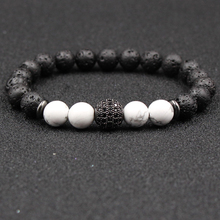 HOBBORN Trendy Natural Stone Beads Women Bracelet 8mm Lava Handmade Strand Silver Gold Crystal Ball Charm Couple Bracelets