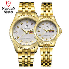 Lover Watch Women Dress Watch Men Stainless Steel Nuodun Quartz Watches Men Fashion Casual Waterproof Wristwatch Calendar Week