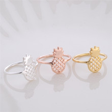 Fashion Cute Pineapple Fruit Ring Jewelry Sweet Fruit Rings Jewelry Gold/Silver/Rose Plated Tropical Style Fruit Jewelry(China)