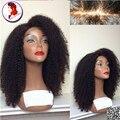 8a grado Afro Rizado Rizado 100% Del Pelo Humano Pelucas Llenas Del Cordón peluca Con El Pelo Del Bebé Sin Cola Peluca de Cabello Virgen Para Las Mujeres Negras