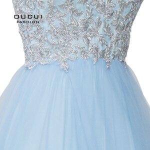 Image 5 - Sky Blau Weiß Appliques Blumen Prom Kleider 2019 Sexy V ausschnitt Elegante Frauen Kleid Hochzeit Abend Vestido De Novia OL103448