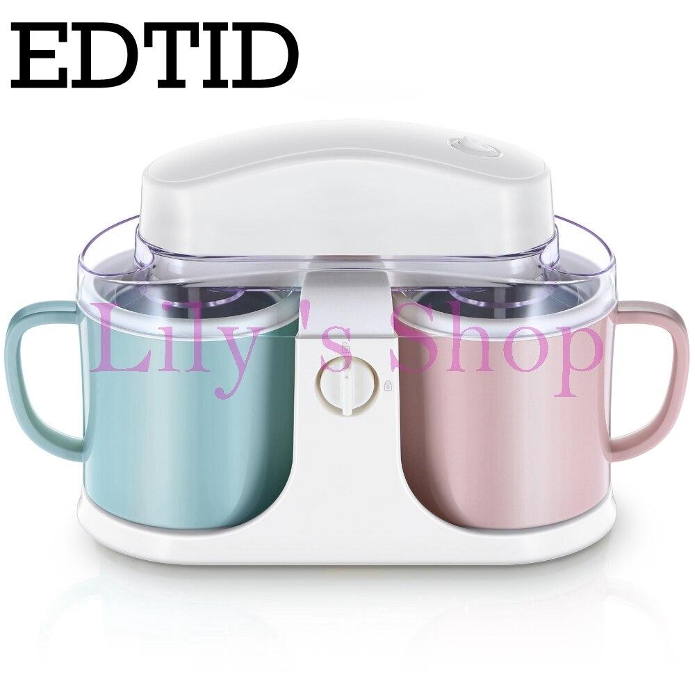 Electric fruit ice cream maker Household automatic double barrel soft ice cream machine DIY children frozen dessert 1L 7W EU US