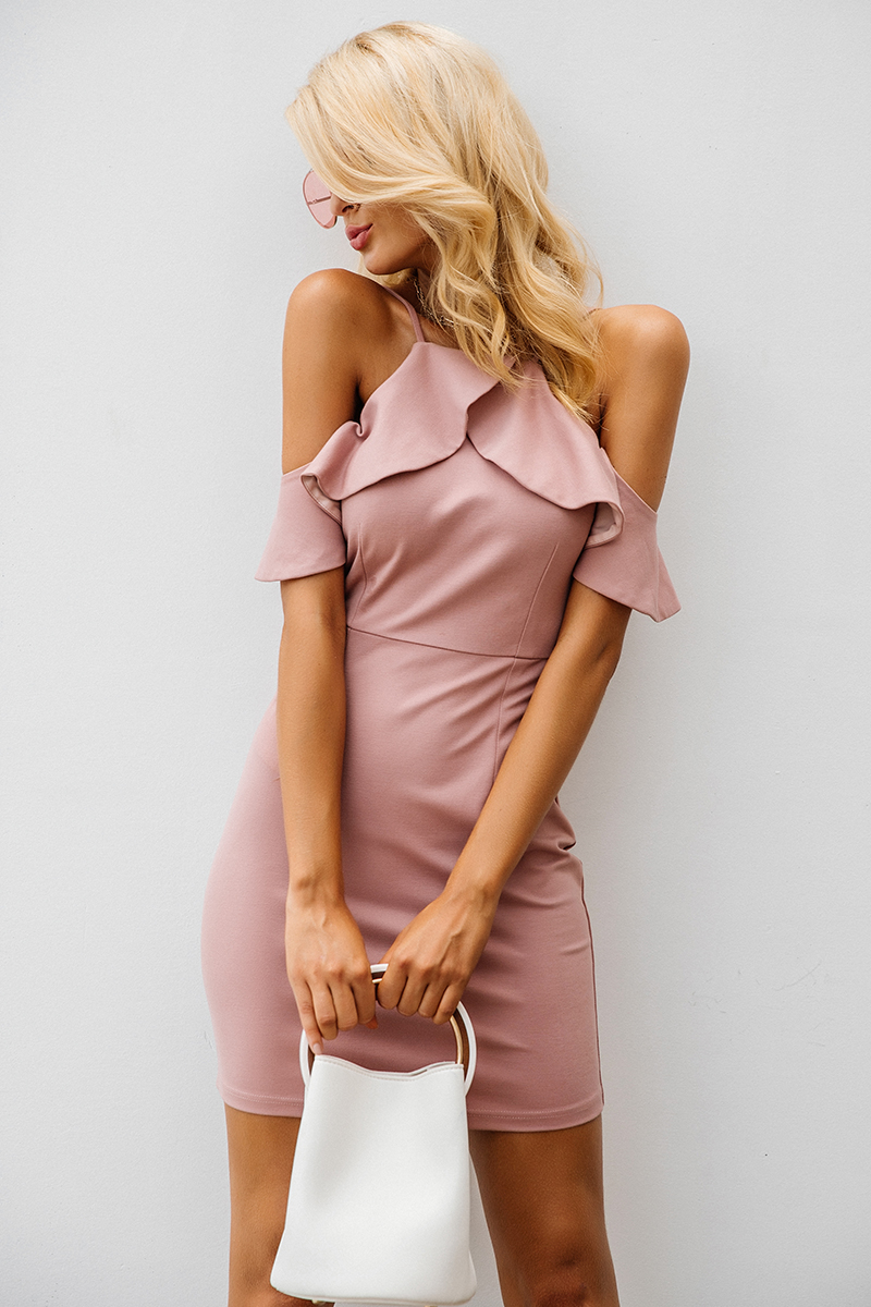 Strap Cold Shoulder Ruffle Backless Split Bodycon Dress
