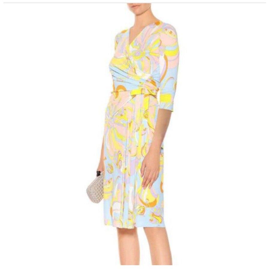 Demi Femmes De V Mode Belle Manches Printemps Col Epucci D'été Soie Robe Loisirs Clair Stretch Mince Tricoté B45wnxIq