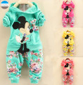 2017 2 - 5 years old cartoon baby girls clothes set coat + trousers kids clothes suit children's cotton clothing spring autumn
