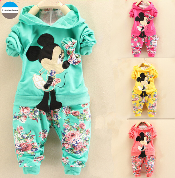 586a89096435b 2018 2 - 5 years old cartoon baby girls clothes set coat + trousers kids  clothes suit children's cotton clothing spring autumn