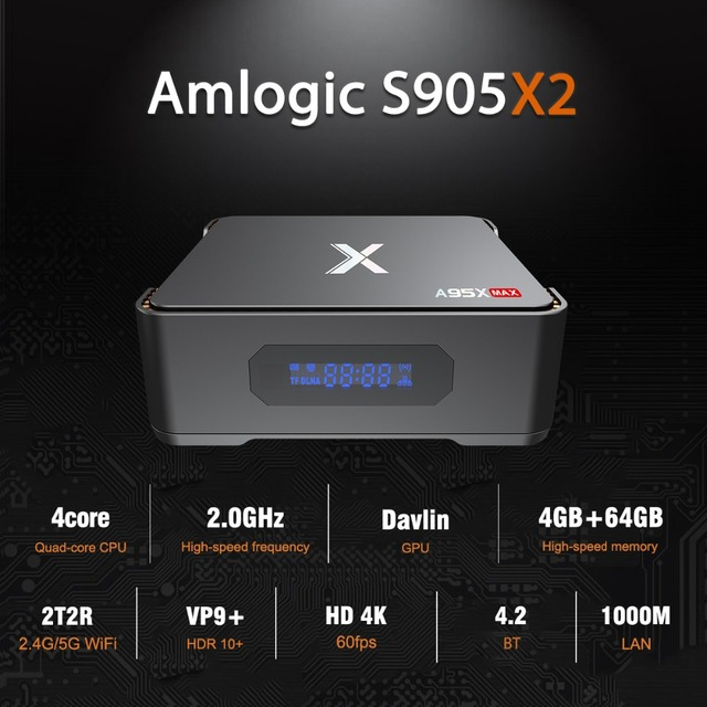 A95X MAX Smart Android 8.1 TV Box 4G 64G S905X2 2.4G+5G Wifi BT 4.2 1000M 2G 32G 4K Media Player Support Video Recording Ott Box 2