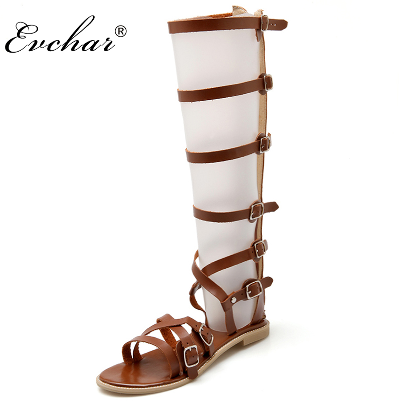 Fashion Gladiator Sandals Women Brand Design Cut outs Flat Knee High Rome Sandals Boots Summer Shoes Woman large  big size 32-46 anmairon new cut outs knee high gladiator summer sandals boots women motorcycle boots high knee high boots shoes woman 7 colors