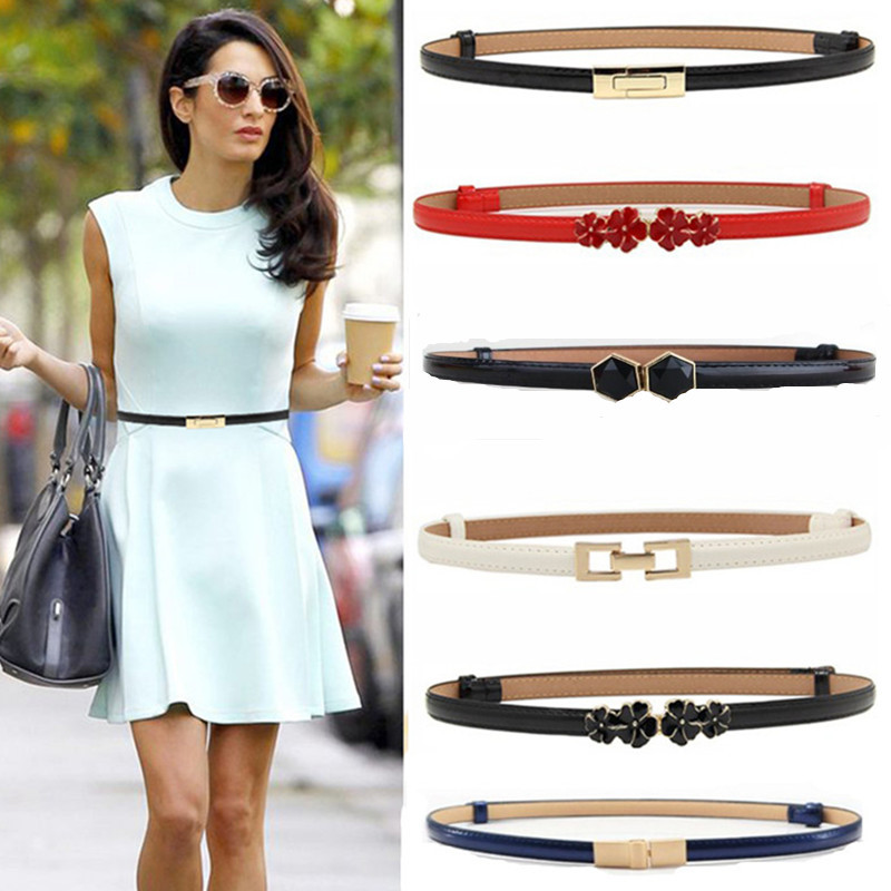New Design Belts Thin Adjust Belt PU Leather Black Dress Cummerbunds Students  Women Waistbands Red Flower Buckle Square Gifts(China)