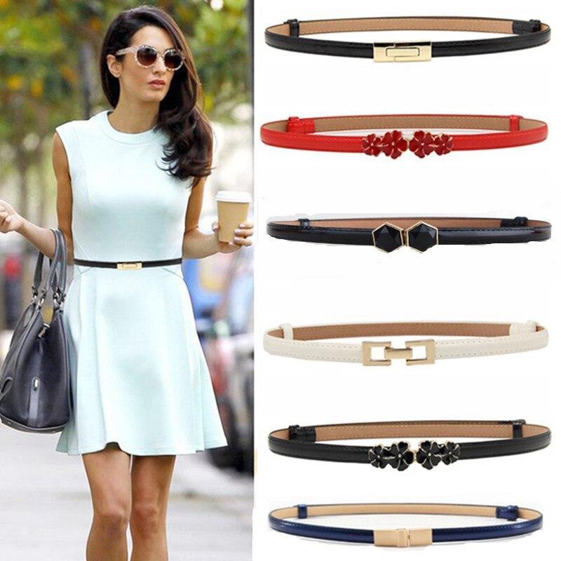 New design belts thin adjust belt PU leather black dress cummerbunds students  women waistbands red flower buckle square gifts