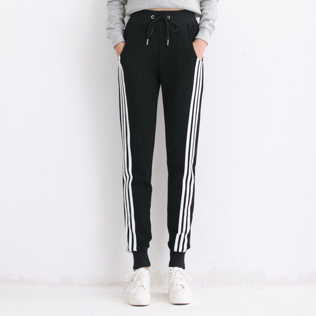7f2ab701e9a Black Gray White Striped Pants Sweatpants Women Side Stripe Trousers Casual  Cotton Comfortable Pants Joggers Tracksuit