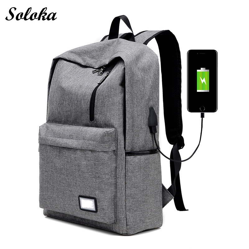 2017 Men Nylon Backpacks USB Charging Backapcks School Backpack Bags Laptop Computer Bags Vintage Casual Rucksack Travel Bags smart home eu touch switch wireless remote control wall touch switch 3 gang 1 way white crystal glass panel waterproof power