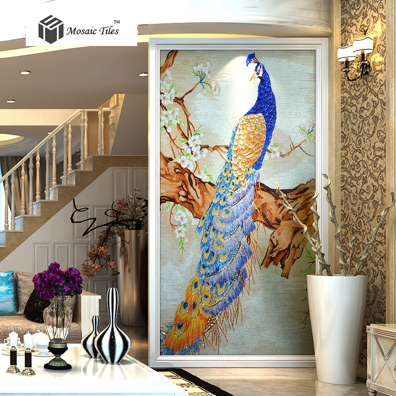 Bisazza Mosaic Peacock Picture Customized Glass Mosaic
