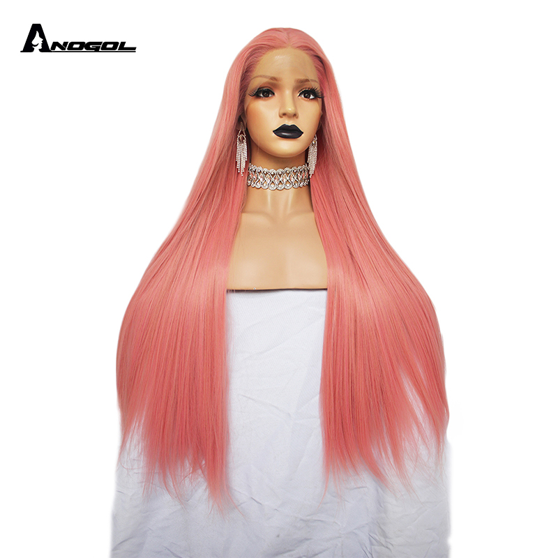 Anogol High Temperature Fiber 360 frontal Brazilian Hair Peruca Pink Long Natural Straight Synthetic Lace Front