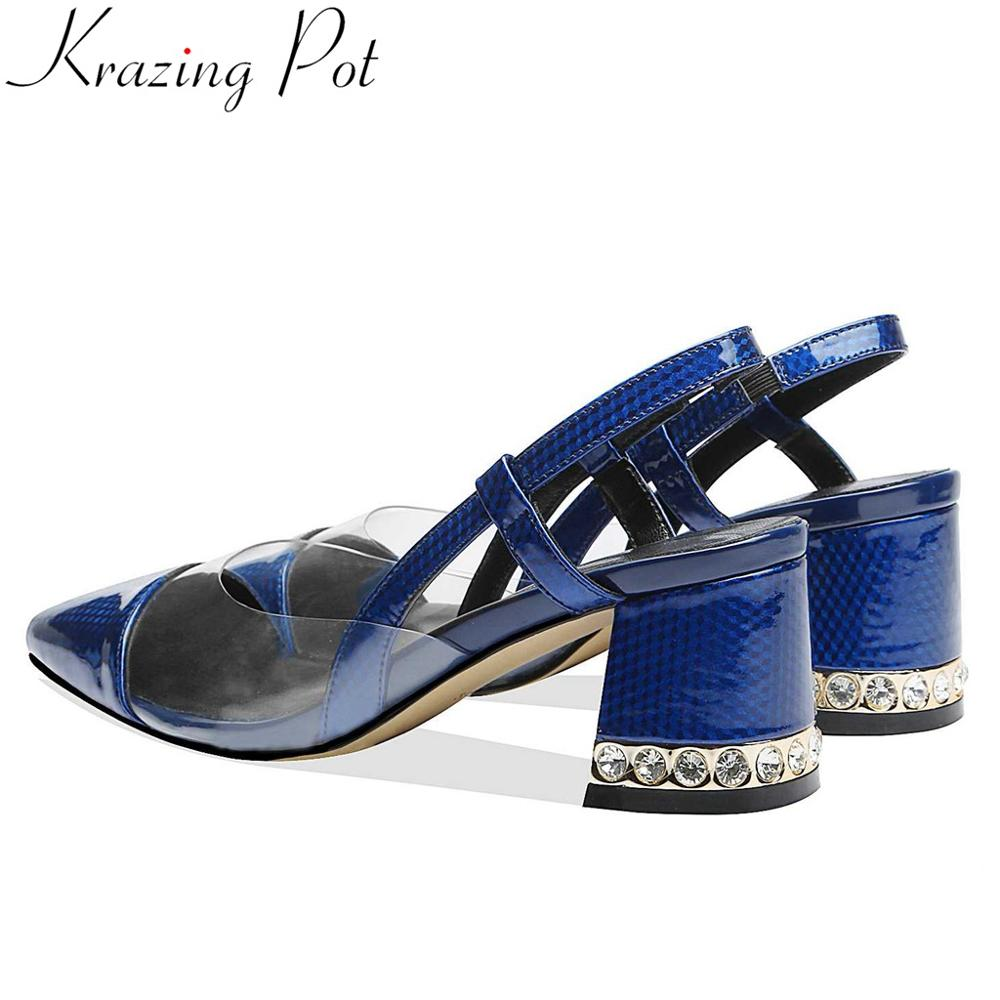 Krazing pot European style patent leather women sandals slip on crystals thick high heels fashion pvc material runway shoes L38Krazing pot European style patent leather women sandals slip on crystals thick high heels fashion pvc material runway shoes L38