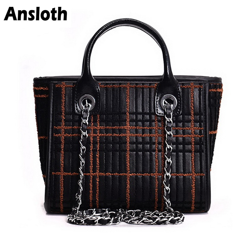 Ansloth Classic Plaid Womans Hand Bag Stripe Patchwork PU Leather Chain Bags Black Crossbody Bag For Women Shoulder Bags HPS248