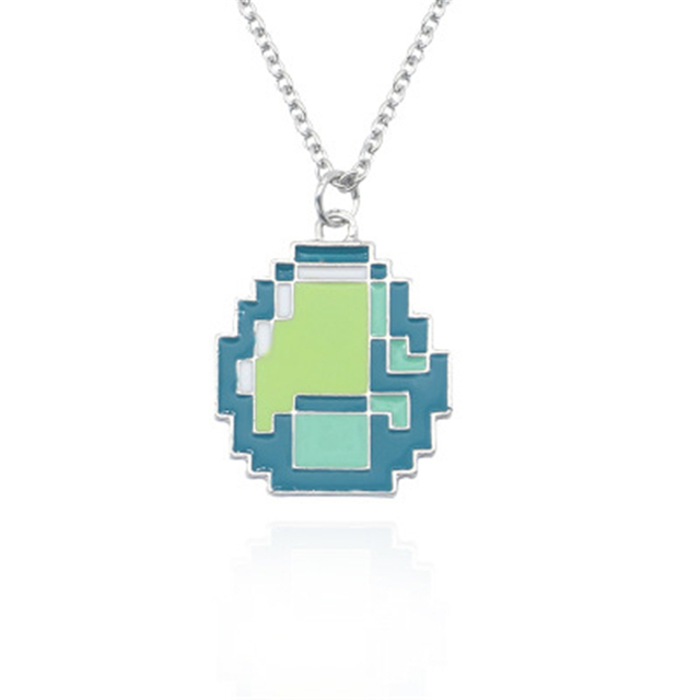 cf8e4b6a3 Fashion Jewelry New Girls Minecraft JJ My world Green Strange Coolie Face  Pendant Necklace Sandplay Mosaic Enamel Chain Necklace