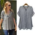 New Women Summer Casual Basic Printed Grid plaid Blouse Top Shirt V-neck short sleeves Loose blusas fashion Plus Size