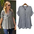 New Women Summer Casual Basic Printed Grid plaid Blouse Top Shirt V-neck short sleeves Loose blusas fashion Plus Size