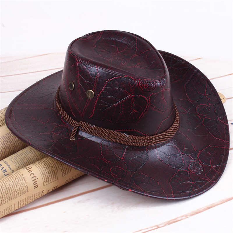 eb346ebf Faux Leather Cowboy Hat Summer Beach Cap Cowgirl Hats Solid Casual Sun  Visor Cap Women Man